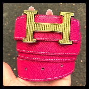 Hermes RARE reversible pink/white belt